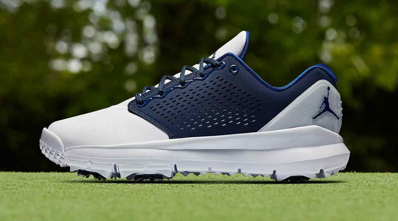 first look nike s new jordan trainer st g blue golf shoe. Black Bedroom Furniture Sets. Home Design Ideas