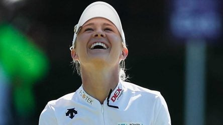 Nelly Korda reacts after a shot during the final round of the Taiwan Championship. She fired a 68 to win.