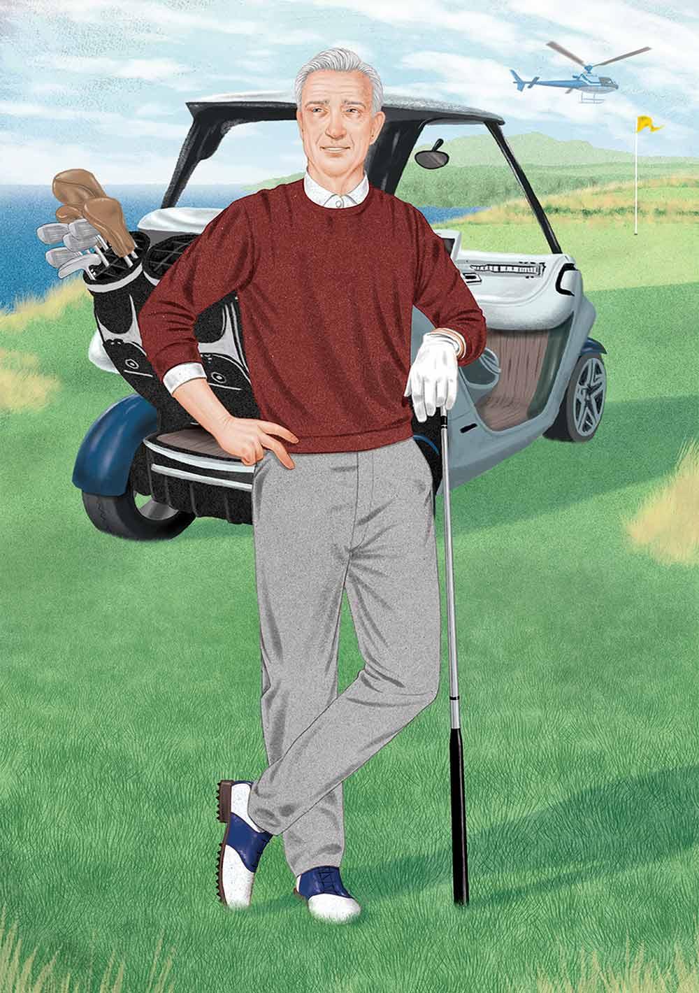 Rich golfer illustration