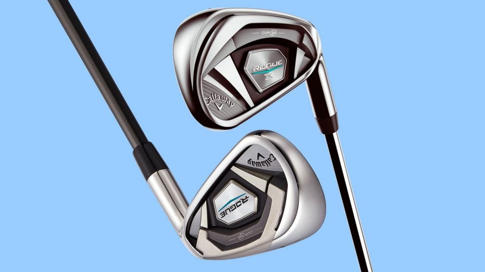 The Callaway Rogue iron and the Callaway Rogue X iron.