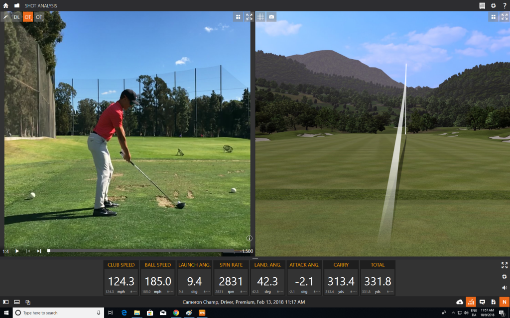 Cameron Champion's Trackman stats on an average range day show a 185 mph ball speed