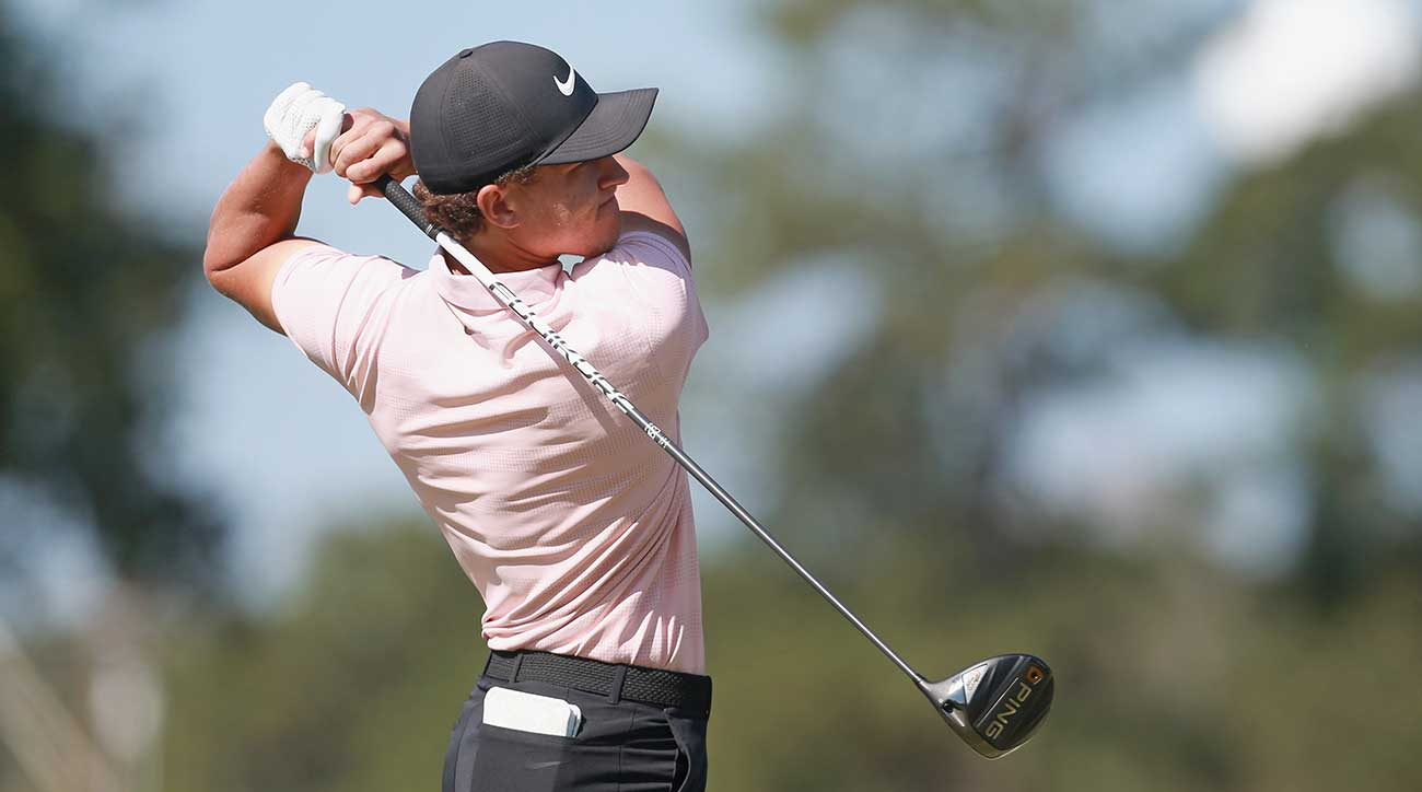 Cameron Champ hits driver during the Sanderson Farms Championship.