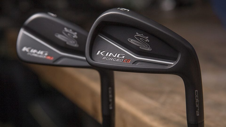 The new Cobra King Forged CB iron (front) and King Forged MB iron (back) in Cobra's shop.