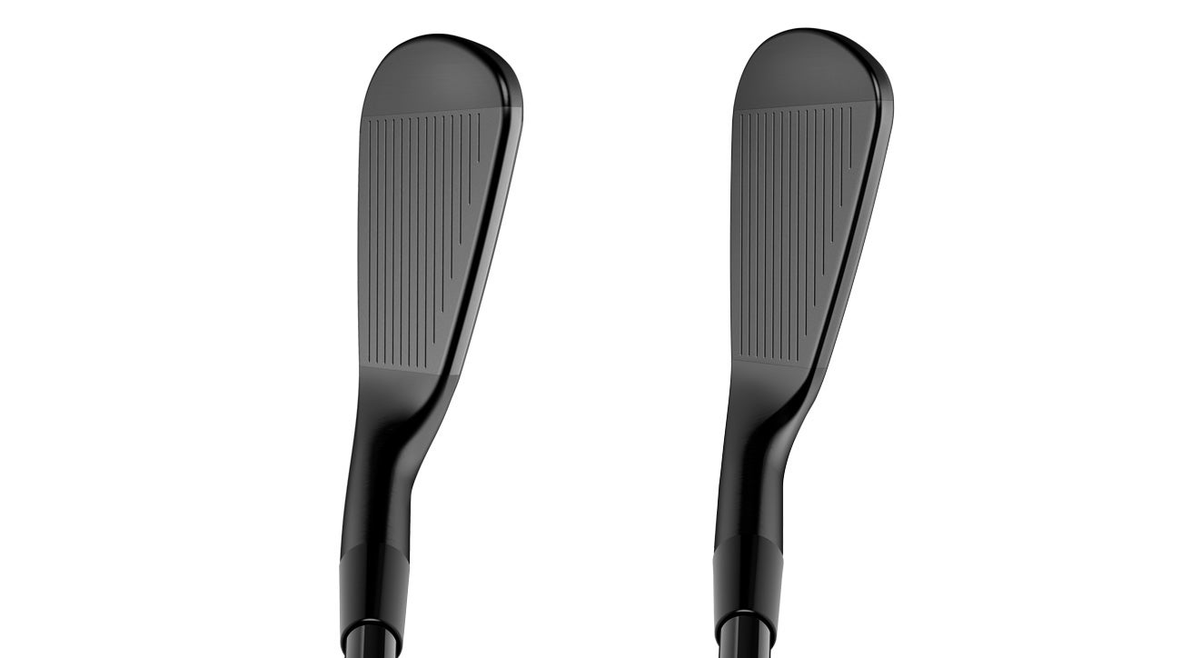 A view of Cobra's King Forged CB iron (left) and King Forged MB iron (right) at address.