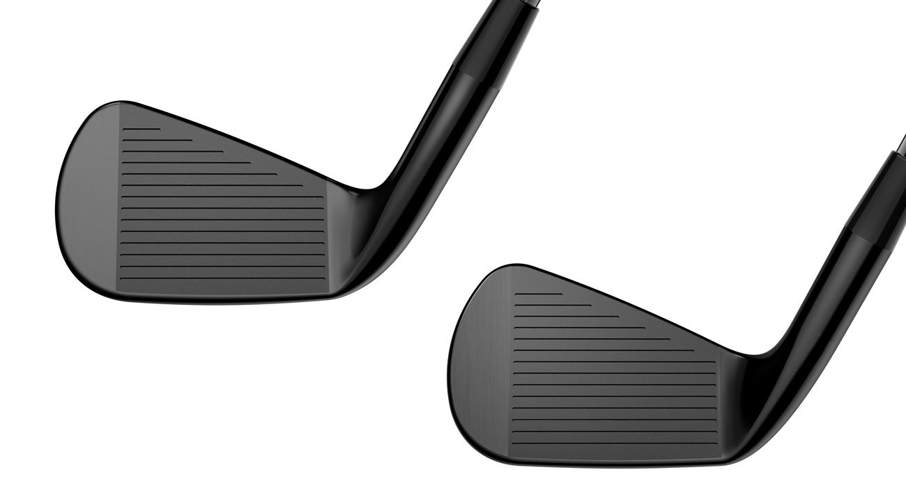 A look at the faces of the new Cobra King Forged CB (left) and MB (right) irons.