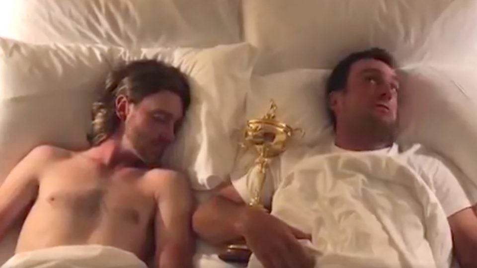 Tommy Fleetwood and Francesco Molinari sleep with the Ryder Cup in a new video