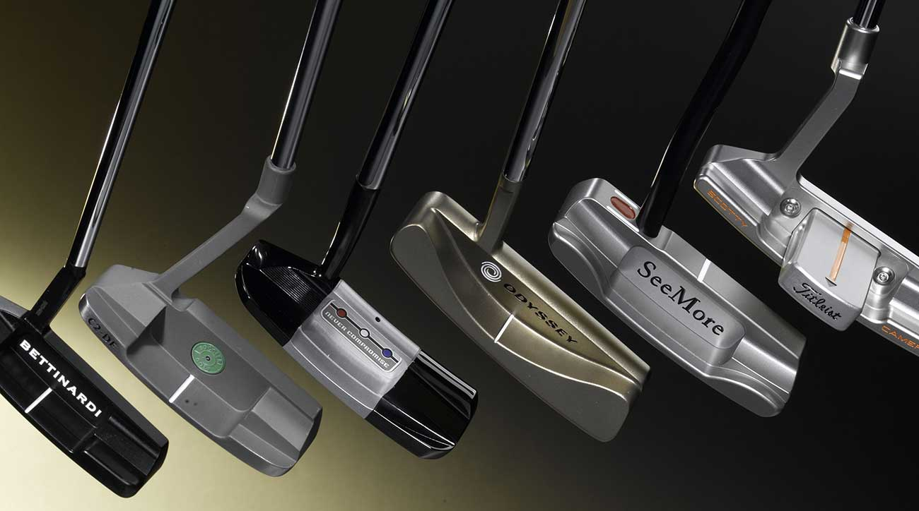 Collection of golf putters.