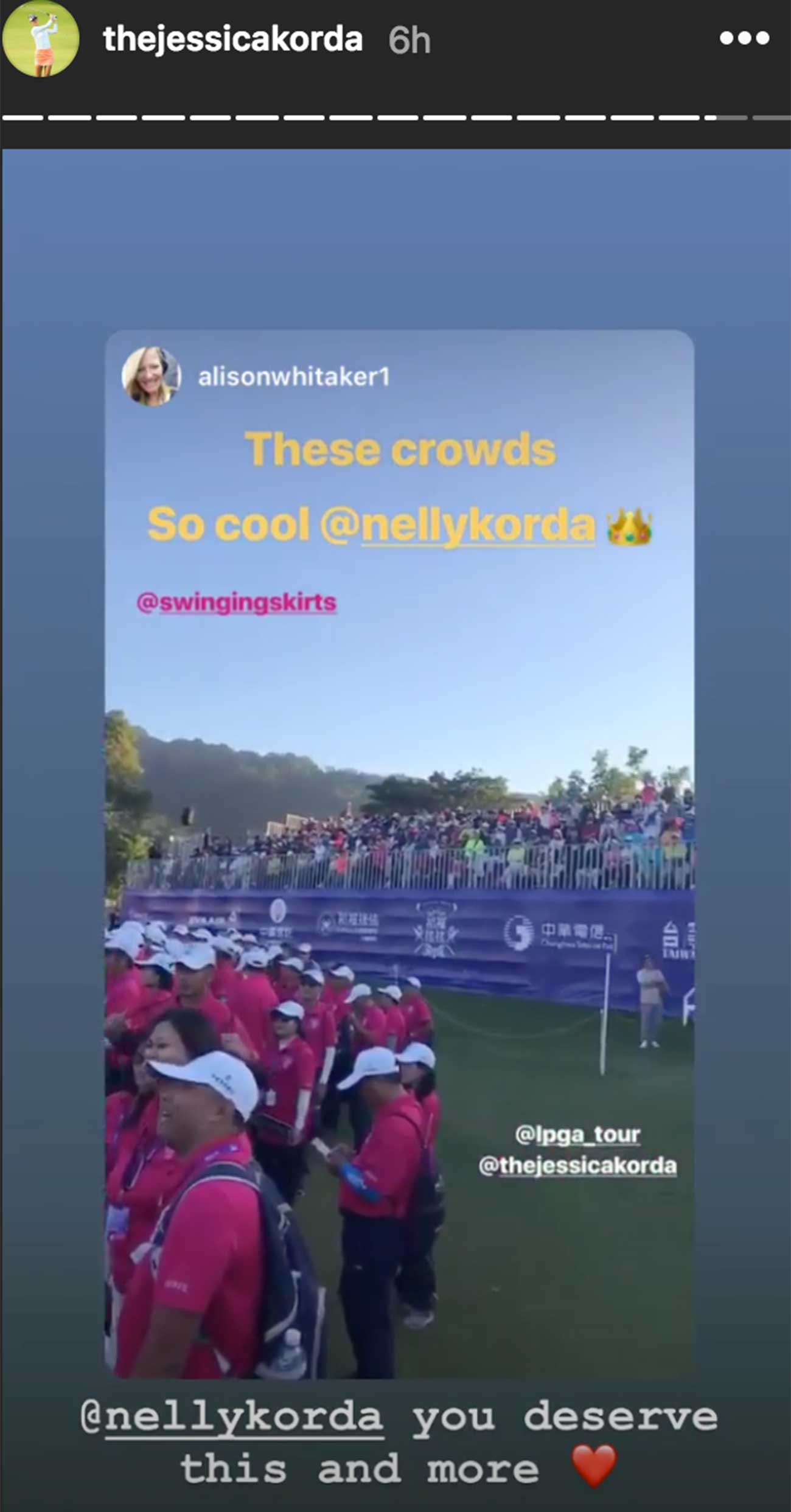 Jessica Korda watches sister Nelly Korda win on the LPGA.