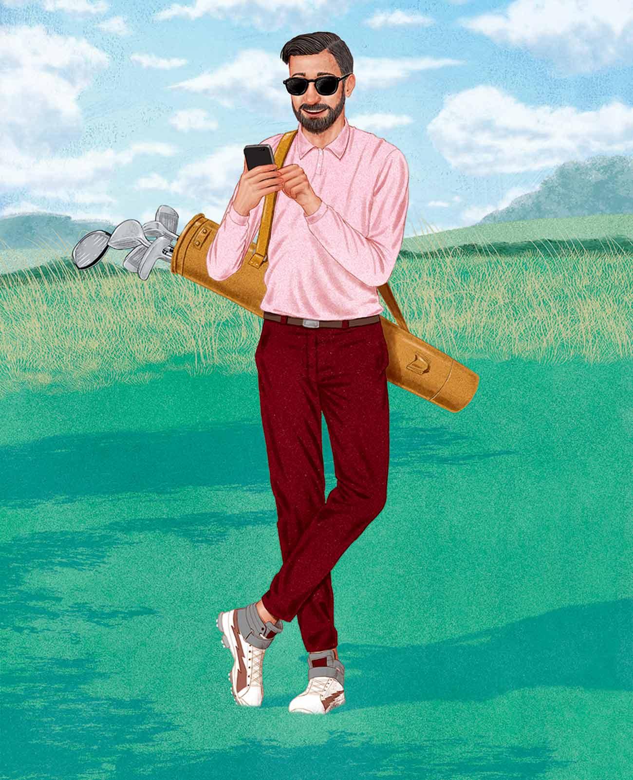 Millennial golfer illustration.