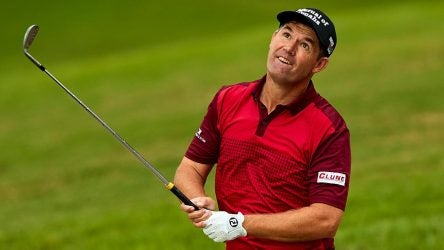 Padraig Harrington reacts during day three of 2018 Andalucia Valderrama Masters.