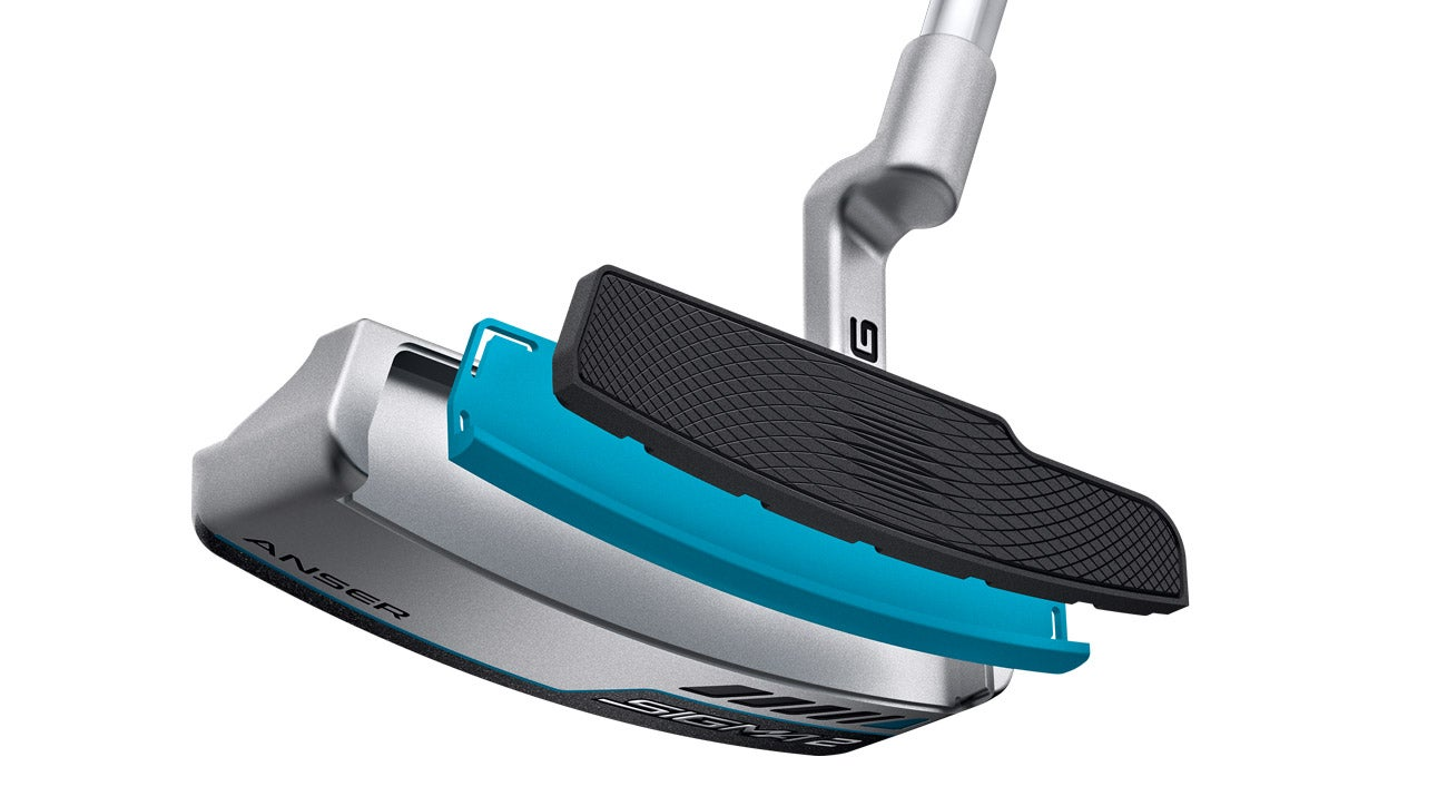 An artistic rendering of the new dual-durometer face insert on a Ping Sigma 2 Anser putter.