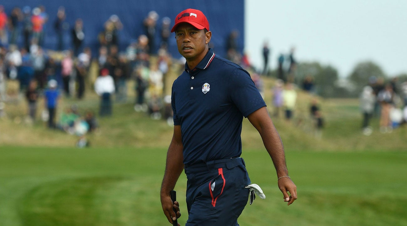 Tiger Woods pictured during the final day of the 2018 Ryder Cup at Le Golf National.