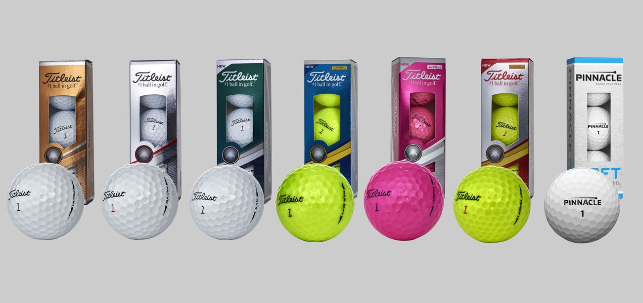 Seven Titleist golf ball models for 2018. Most manufacturers offer a full range of ball types.