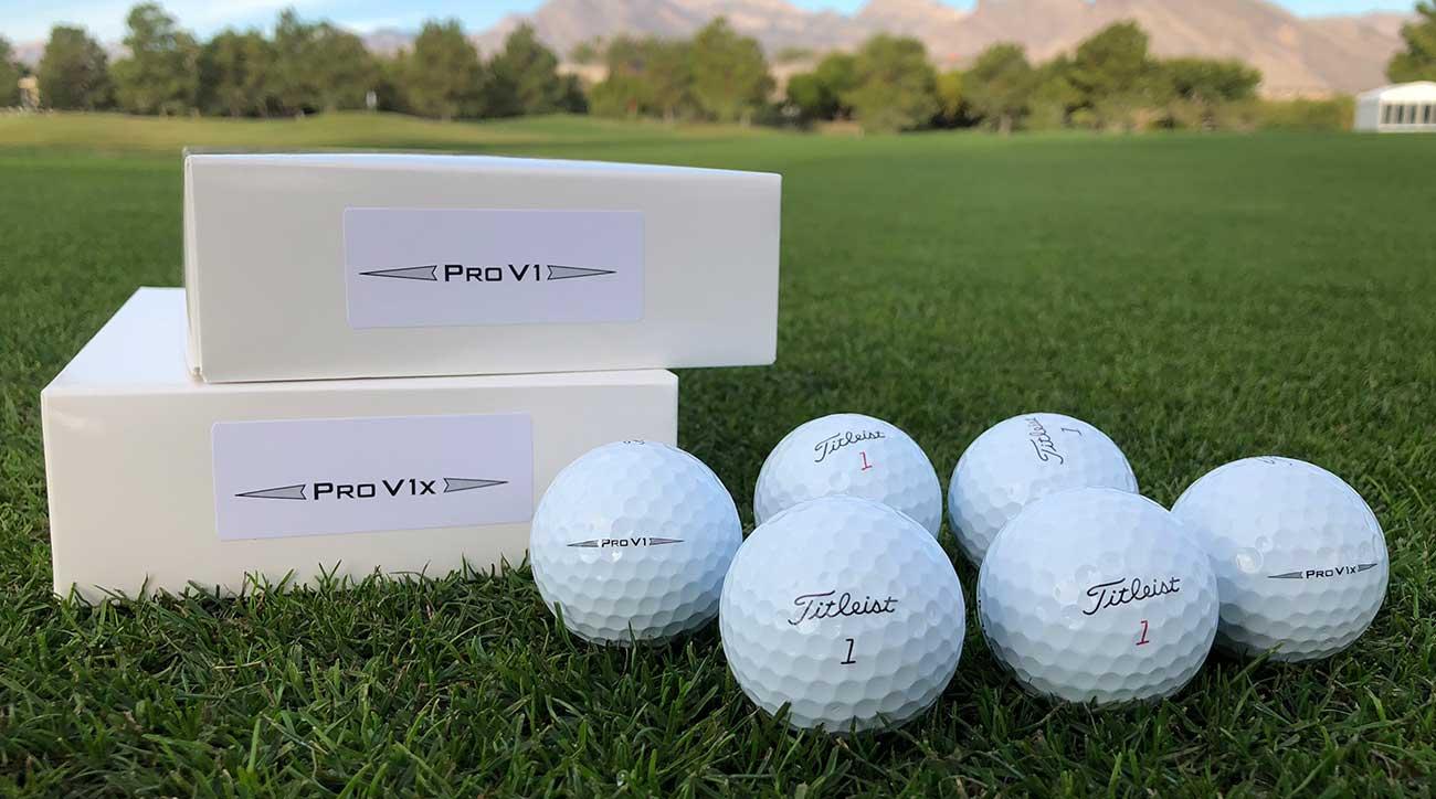 Titleist Pro V1 and Pro V1x golf balls.