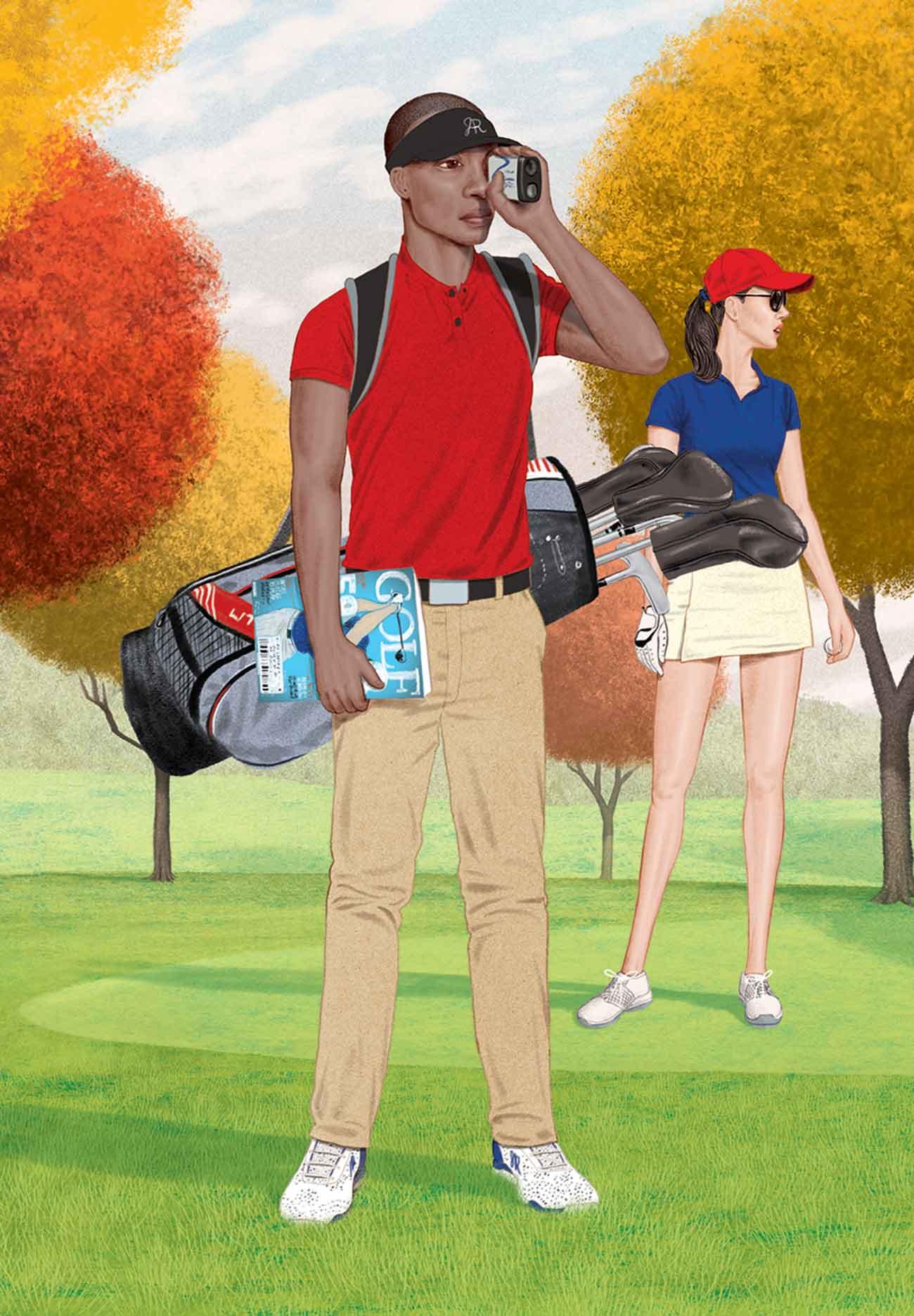 The weekend warrior golfer illustration.
