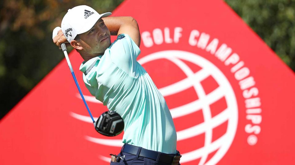 Xander Schauffele watches his drive during the final round of the WGC-HSBC Champions.