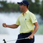 Justin Thomas celebrates after winning The Honda Classic.