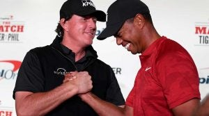 Phil Mickelson, Tiger Woods, the Match, press conference