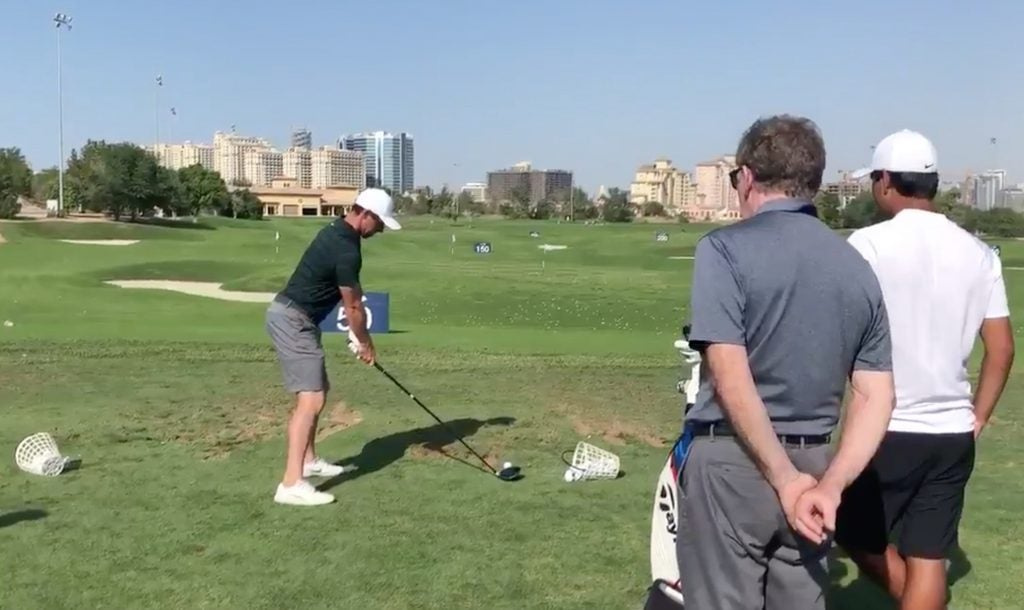 Rory McIlroy on the range in Dubai.