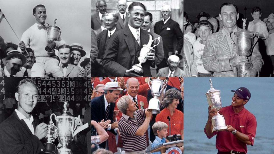 Golf legends Gene Sarazen, Bobby Jones, Ben Hogan, Arnold Palmer, Jack Nicklaus and Tiger Woods are among thsoe who have won multiple majors in one season.