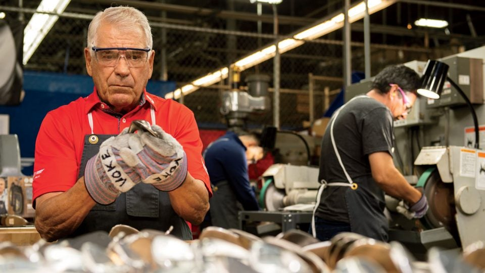 The wedge legend, Bob Vokey, grinding in his studio at Titleist's Southern California facility.