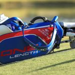 Bryson DeChambeau's golf bag rest on the ground during the 2018 Shriners Hospitals for Children Open.