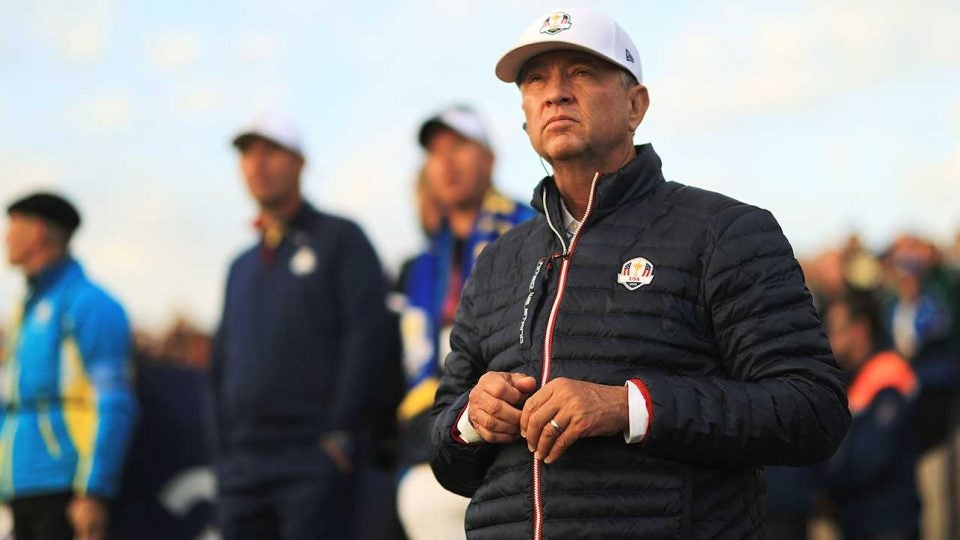 Davis Love III looks on during the Ryder Cup in Paris.