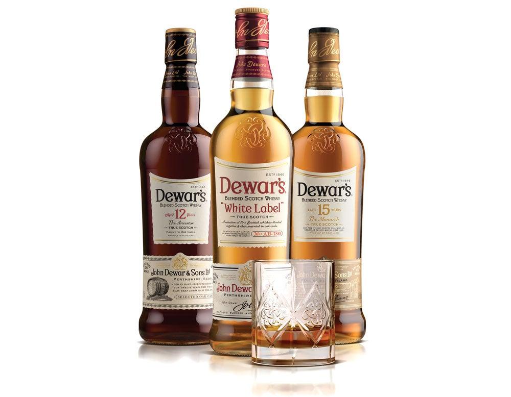 A selection of Dewars scotch.