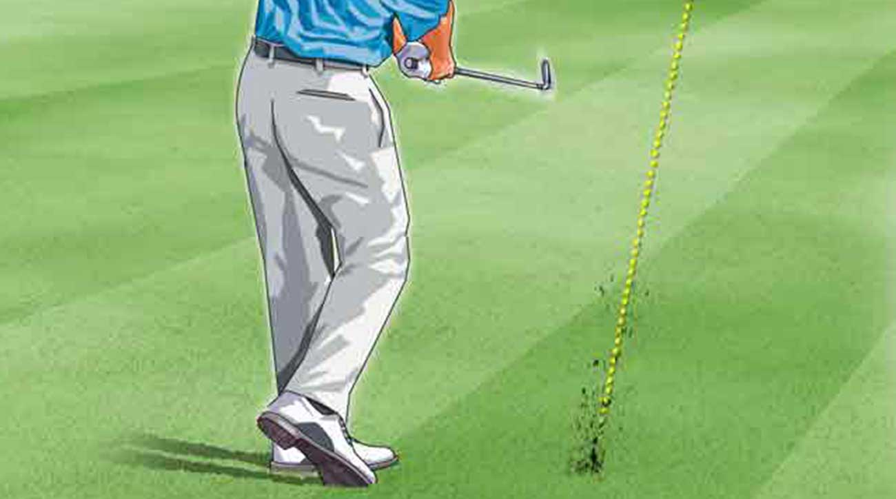 A golf tip to hit from uneven lies.