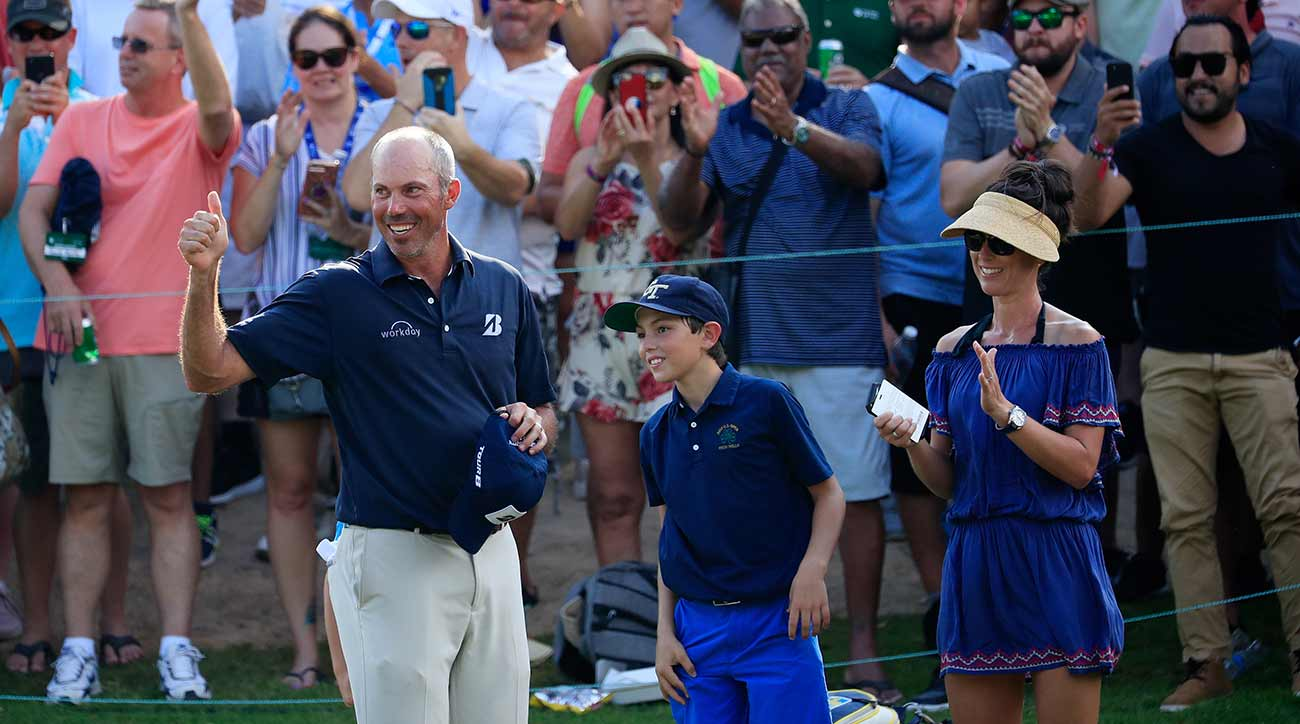 Matt Kuchar celebrates his victory on Sunday evening in Mexico.