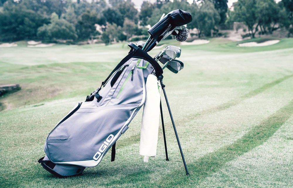 The Ogio Shadow Fuse 304 golf stand bag in action on the course.