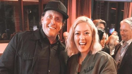 Michelle Wie posted this photo with Phil Mickelson from the after-party following the Tiger vs. Phil match.