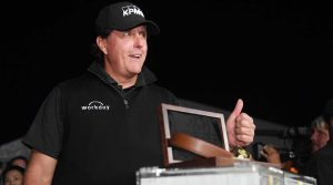 Phil Mickelson flashes a thumbs up after beating Tiger Woods in The Match.