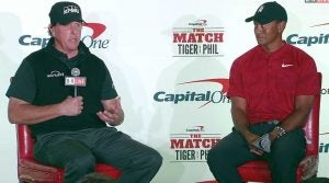Tiger Woods and Phil Mickelson at The Match press conference.