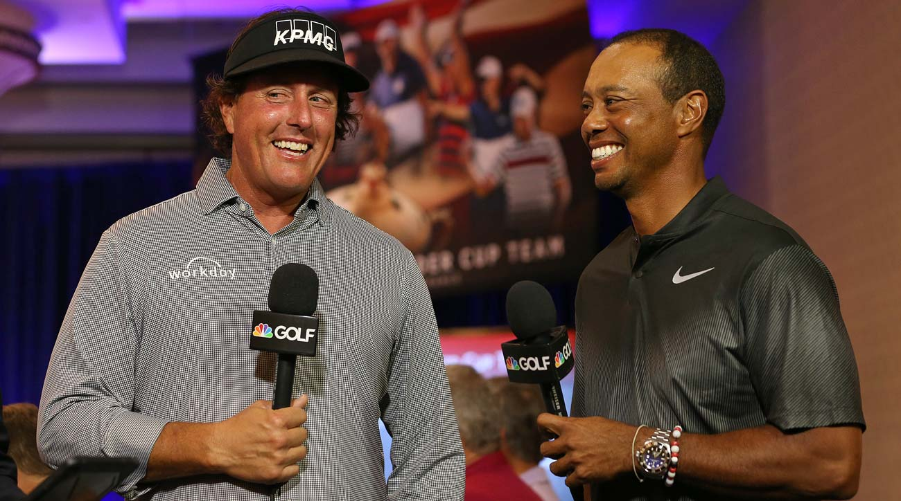 Phil Mickelson and Tiger Woods after being selected as captain's picks for the 2018 U.S. Ryder Cup team.