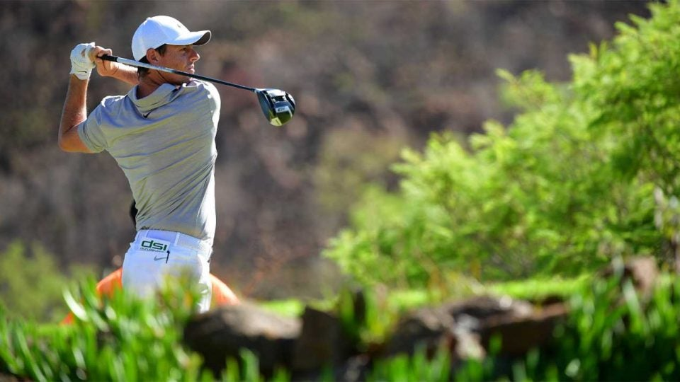 Rory McIlroy watches a shot during the pro-am of the Nedbank Golf Challenge last week.