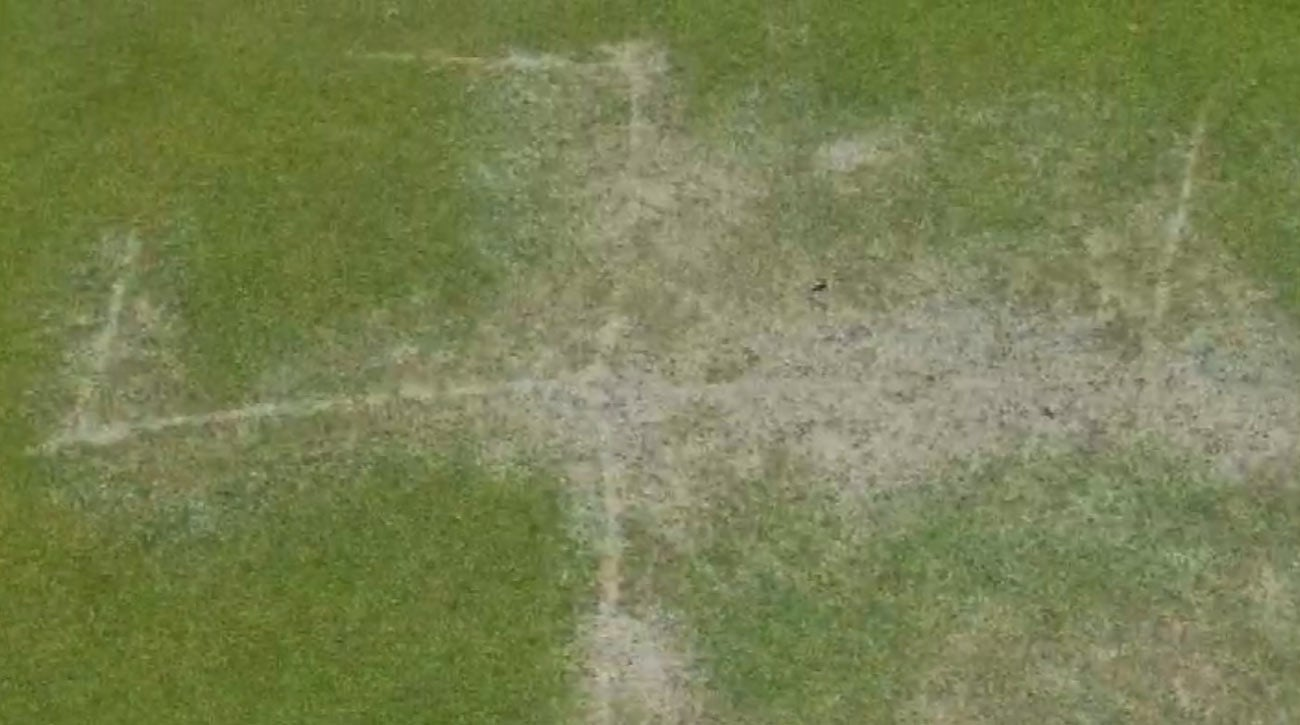 This swastika was found carved into a green at an Indianapolis golf course recently.