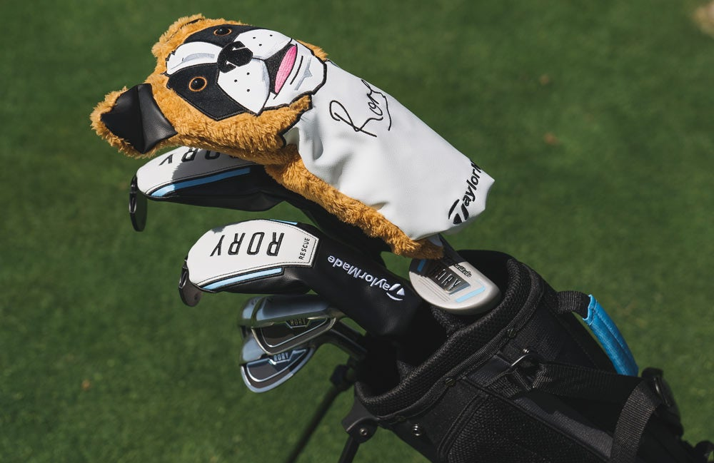 Each set comes with a St. Bernard headcover designed after Rory McIlory's own driver headcover.