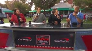 The broadcast team for The Match between Tiger Woods and Phil Mickelson featured, among others, (from left to right) Pat Perez, Adam Lefkoe, Ben Stiller and Charles Barkley.