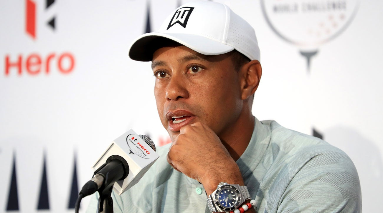 Tiger Woods speaks to reporters at the 2018 Hero World Challnege.