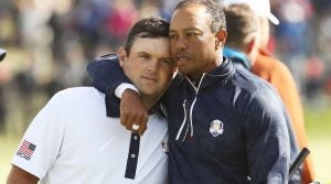 during the morning fourball matches of the 2018 Ryder Cup at Le Golf National on September 29, 2018 in Paris, France.