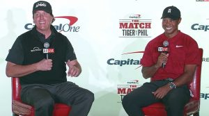 Tiger Woods and Phil Mickelson take questions from the media on Tuesday at Shadow Creek.