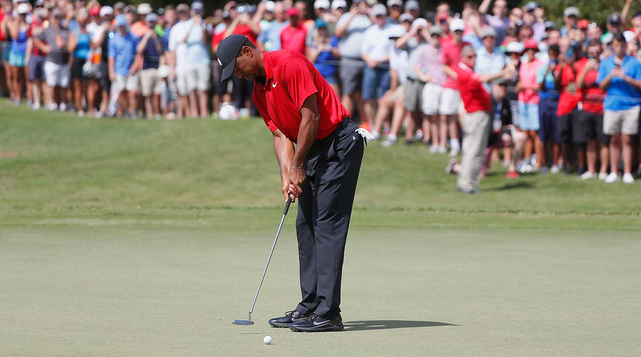 Tiger Woods putts during the Tour Championship.