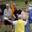 Jack Nicklaus turns to the crowd after making a birdie putt on Sunday.