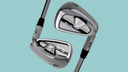 The new Bridgestone HF1 irons (bottom) and HF2 irons (top) offer different levels of forgiveness.