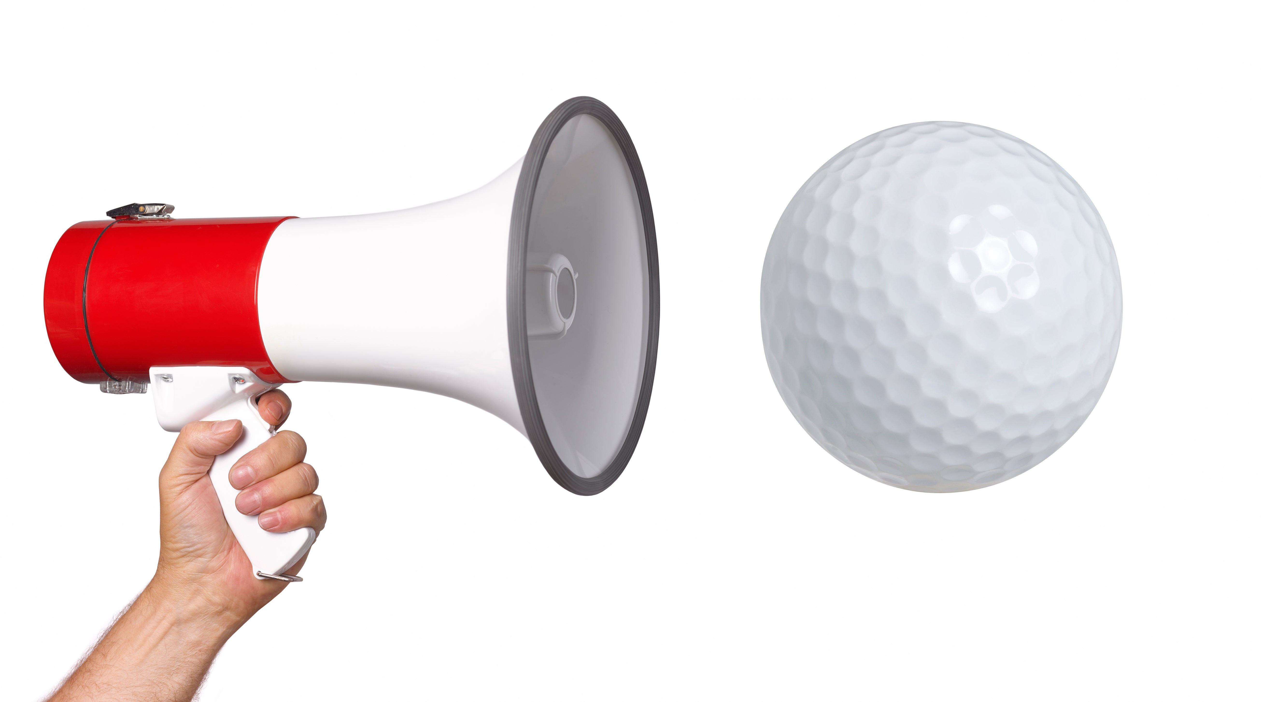 Bullhorn and golf ball