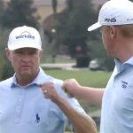 Davis Love III and Dru Love celebrate another birdie at the PNC Father-Son Challenge on Sunday.
