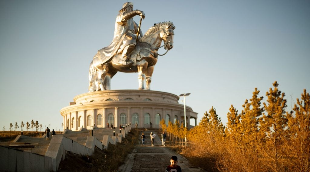 Genghis Khan towers over visitors in a park south of Ulaanbaatar.