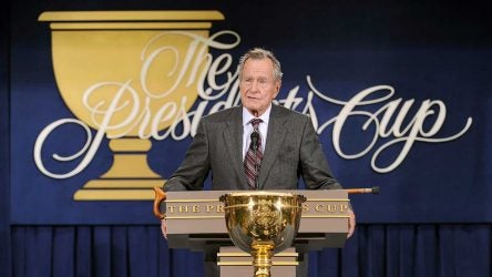 Former President George H.W. Bush speaks at the 2009 Presidents Cup.