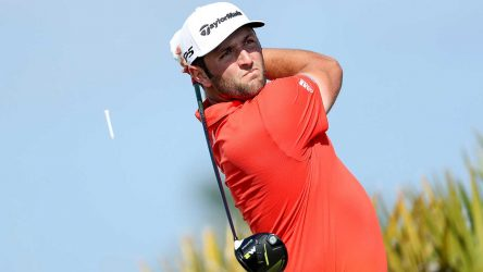 Jon Rahm tees off on the 4th hole during the final round of the Hero World Challenge on Sunday in the Bahamas.